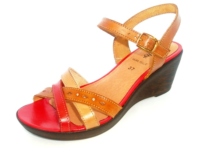 Sandale Casual Confort 839-02 rosso.taupe.cuoio